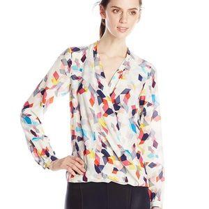 Trina Turk 100% silk confetti blouse